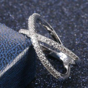 Infinity 925 Silver Ring with White Sapphires